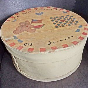 "16.25"" Diameter x 7.25"" Tall Tole Painted Wood Box"